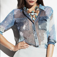Blue Leaf Print Long-Sleeve Collar Shirt