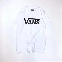 Vans tide brand T shirt fashion casual men and women short-sleeved students couple letter printing blouse  White