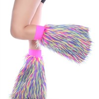 Clubstyle Monster Pink, Blue and Yellow Fluffies : Quality Fluffy Leg Warmers