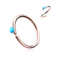 Rose Gold and Turquoise Bendable Nose Ring Nose Hoop  20ga Body Jewelry Steel