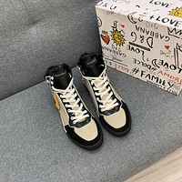 D&G Trending Women's men Leather Side Zip Lace-up Ankle Boots Shoes High Boots