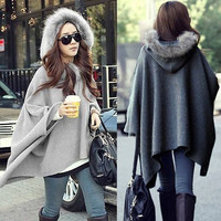 Women Batwing Faux Fur Poncho Cape Long Sleeve Outerwear Wool Blouse Casual = 1946939332