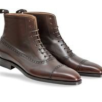 Handmade men brown leather boot, Men ankle high lace up leather boot, Mens boot