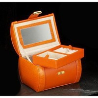 Bey-Berk Jewelry Case in Orange Leather - BB552ORG - Jewelry Boxes - Decorative Accents - Decor