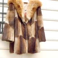 Womens Fur Coat, Muskrat Stroller Coat, Racoon Collar, Patchwork Blonde Brown Short Coat, Size Large