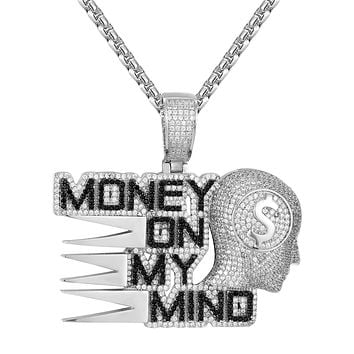 Silver Money on my Mind Black Icy Dollar Bills Custom Pendant