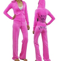 NWT JUICY COUTURE Collegiate Crest Logo Velour Pink Hoodie Pants Tracksuit Set