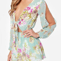 Plunge Tie Up Front Cold Shoulder Random Floral Pattern Dress with Lining from mobile - US$17.95 -YOINS