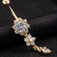 Fashion Beautiful Crystal Flower Dangle Gold Navel Belly Button Ring-0601