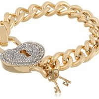 "Juicy Couture ""Totally Secure Couture"" Gold Pave Heart Padlock Bracelet, 7.51"""