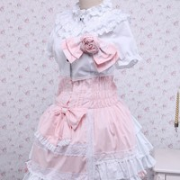 White and Pink Cotton Doll Collar Short Sleeve Bow Sweet Lolita Dress