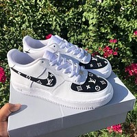 LV Louis Vuitton x NIKE Air force 1 AF1 low-top printed letters sneakers Shoes-2