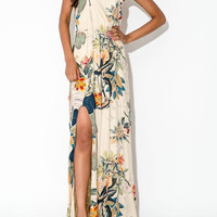 Floral Leaves Print Sleeveless Side Slit Maxi Dress