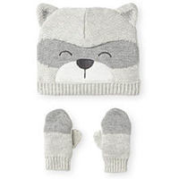 Koala Baby Boutique Grey Raccoon Hat and Mitten Set