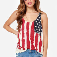 Others Follow Justice Cream American Flag Print Top