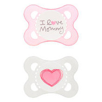 Mam Love & Affection Pacifier - BPA Free - 0 to 6 months - 2 pack - Pink - I Love Mommy