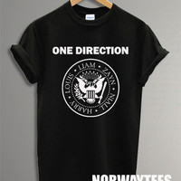 One Direction Shirt Ramones Symbol Printed on White and Black t-Shirt For Men Or Women Size TS 87