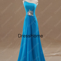 One-shoulder Blue Evening Dress With Beading / Cheap Evening Dress With Open Back / Prom Dress / Long Prom Dress / Blue Prom Dresses