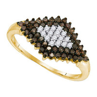 Cognac Diamond Fashion Ring in 10k Gold 0.5 ctw