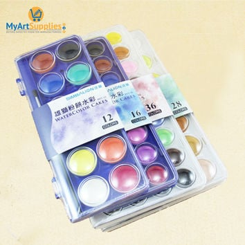 Simbalion 12/16/36 Solod Watercolor Cakes Paint Colors Pack
