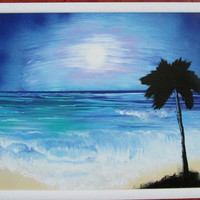 blue beach spray paint art,palm trees art,framed artwork,ocean decor,ocean painting,beach decor,beach painting,gift for him art,unique home