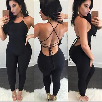 Backless Hollow Out Cross Halter Tight Romper Jumpsuit Bodysuit