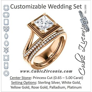 CZ Wedding Set, featuring The Reina engagement ring (Customizable Ridged-Bevel Surrounded Princess Cut with 3-sided Split-Pavé Band)