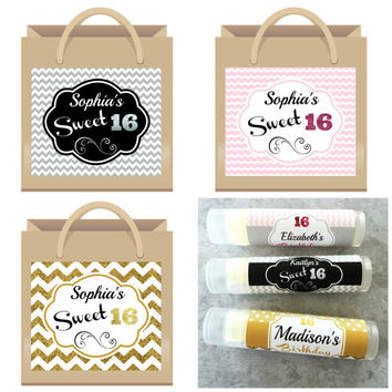 Sweet 16 Gift Bag Labels - 6ct -Sweet Sixteen Party Favors - Lip Balm Favors - Unique Sweet Sixteen Party Ideas  - Sweet 16 Favor - Gift Bag