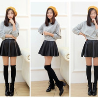 Women Retro Synthetic Leather High Waist Skater Flared Pleated Mini Skirt = 1904198724