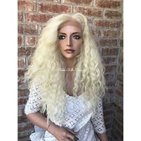 """Blonde Waves Human Hair Blend Multi Parting Lace Front Wig 16"""""""
