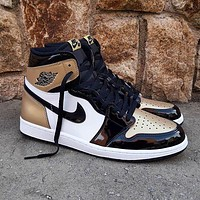 Nike Air Jordan 1 Retro High Gold Toe Basketball Shoes Sneakers