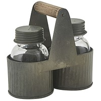 Galvanized Norwood Caddy with Glass Salt & Pepper Shakers