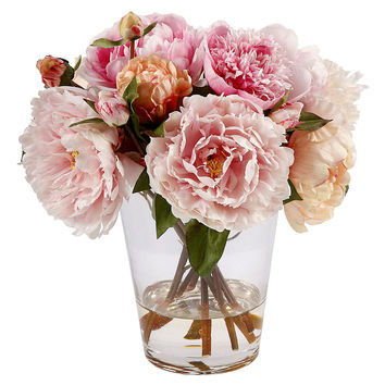 "13"" Peony in Glass Vase, Faux, Arrangements"