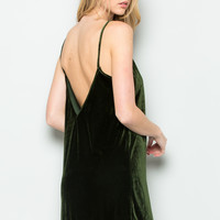 Open Back Crush Velvet Cami Slip Dress in Olive