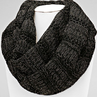 Knitted Infinity Black Winter Scarf