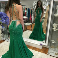 Green Prom Dresses Halter Beading Bling Bling Party Dress Keyhole Sexy Women Dress Backless Straps Long Prom Gown