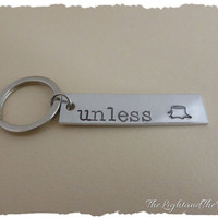 Hand Stamped Key Chain - Unisex - Inspired by Dr. Suess The Lorax - Unless - Gift for him gift for her - Gift for mom - handmade gift idea