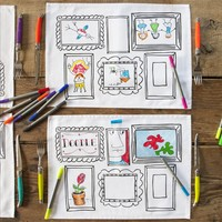 Doodle White Placemats With Frame Design to Personalize