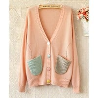 Magic Pieces V-NECK LONG-SLEEVE SWEATER KNIT CARDIGAN