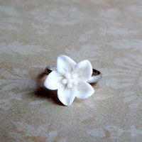 White Lily Flower Stackable Ring Floral Adjustable Statement Ring