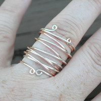 Wire Wrapped Ring Set Silver and Rose Gold Stackable Set