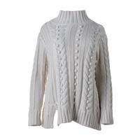 525 America Womens Ribbed Trim Long Sleeves Pullover Sweater