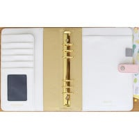 """NEW! Color Crush A5 Faux Leather 6-Ring Planner Binder 7.5""""""""X10""""""""-Blush & Gold Foil Dots"""