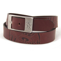 New York Yankees MLB Men's Embossed Leather Belt (Size 40)