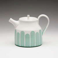 Turquoise Striped Teapot by dahlhaus on Etsy