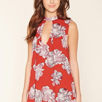 Cutout Floral Mini Dress
