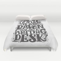 WHY IS A RAVEN LIKE A WRITING DESK Duvet Cover by Matthew Taylor Wilson