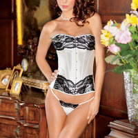 Strapless Floral Corset Lace With G-String