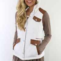 Cabin Fever White Puffer Vest With Brown Contrast Pockets