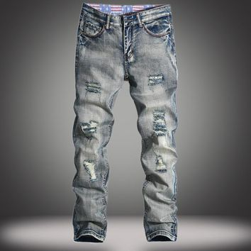 Ripped Holes Slim Weathered Jeans [10366810499]